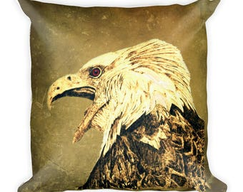Decorative Pillow with a Portrait of an Eagle, Square Pillow, Bald Eagle, Unique Throw Pillow, Decorator Pillow, Home Decor Gift