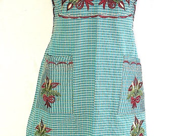 Large Green Floral Embroidered Folk Peasant Traditional Mexican Multi-use Apron. Can be worn around the house or elsewhere