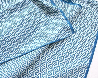 Op Art scarf by Glentex. Blue and whhite geometric scarf, oblong scarf, retro scarf, optical illusion scarf, patterned scarf, graphic scarf