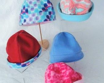 Women's Warm Hats, Reversible Fleece Hat,  Beanie Hats, Extra Warm Head Covering,  2 in 1 hat, Colorful Head Gear, Ski Hat,