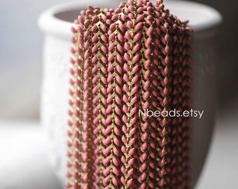 Pink Enamel Brass Arrow Chain 6mm, Flat Chevron Chain, Herringbone Fish bone Designer Chain (#RB-048-4)/ 1 Meter=3.3ft