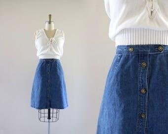 button down denim skirt / m