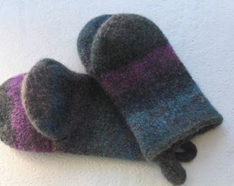Charcoal Grey Blue Knit Felted Wool Oven Mitt Set, Grey Blue Purple Knit Felted Oven Mitts Wool Oven Glove Set, Hostess Gifts, Kitchen Gift