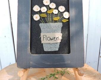 Primitive Flowers applique stitchery in wool