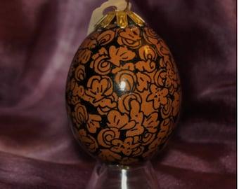 Hand decorated Blown Egg Ornament (Seashells on Brown Eggshell)