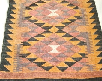vintage dhurrie rug kilim area rug rectangle wool hallway