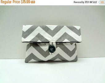 ON SALE Gray Chevron Clutch Chevron Bridesmaid Gift - READY To Ship