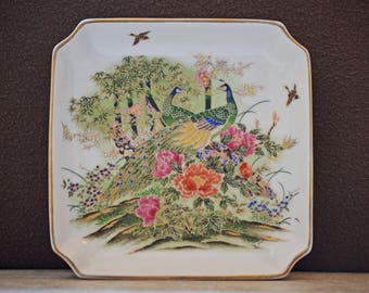 Ring Dish/Otagiri Mercantile Company/Trinket Dish/OMC/Jewelry Dish/Peacock Dish/Floral Dish/Candy Dish/Gold/ 80s