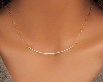 Hammered Bar Necklace, Curved Bar Necklace, Hammered Gold Bar, Hammered Curved Bar Necklace, 14K Gold Fill Bar Necklace, 14k Gold Filled Bar