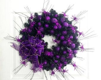 Purple Spider Wreath, Purple Wreath, Halloween Wreath, Holiday Wreath, Halloween Deocration, Front Door Wreath, Halloween Mantel