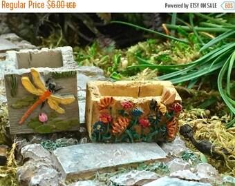 SALE Mini Stone Look Planters, Bee & Dragonfly Flower Pots,Set of 2, Fairy Garden, Miniature Garden Accessory, Decoration, Crafts