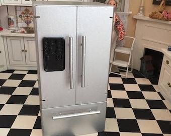 SALE Miniature Refrigerator, Silver Fridge With Bottom Freezer, Dollhouse Miniature, 1:12 Scale, Dollhouse Kitchen, Crafts, Topper, Mini Fri