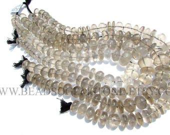 Gemstone Beads, Smoky Quartz Smooth Roundel (Quality B) / 12 to 17 mm / 36 cm / SM-021