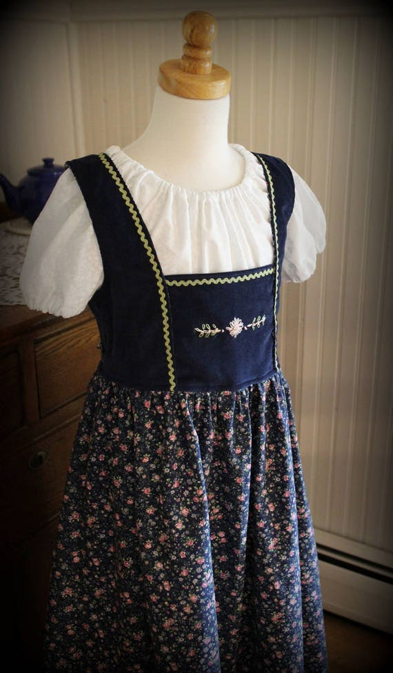 Blue Hand Embroidered Dirndl Dress Size 7/8 -Ready to Ship