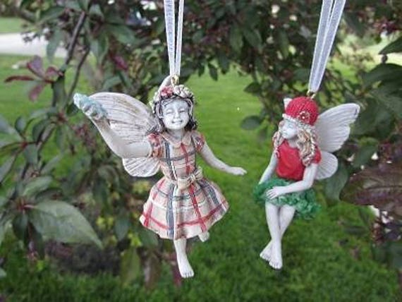 "Santa's Little Girl Fairy Ornaments  (Choose One) Plaid Dress 3"" Tall or Red & Green Dress (2"" Tall) Made of Resin"