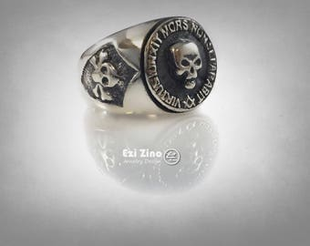 MASONIC skull ring Free Masons solid sterling silver 925