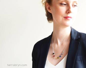 Prima Chakra Necklace, Yoga Gift, Chakra Energy Stones, Yoga Necklace, Gemstones & Sterling Silver