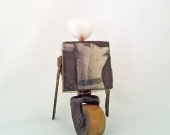Stretch:  Mixed Media Collage, original assemblage, small upcycled sculpture, reclaimed urban chic art by Leslee Lukosh of Foundturtle