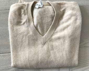 Vintage Tan Cashmere V Neck Sweater