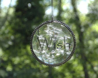 Wish suncatcher, make a wish, dandelion flower, terrarium, stained glass suncatcher ornament, ooak, pressed flower art, minimalist art, wish