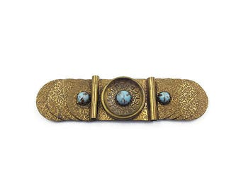 Lidz Brothers Belt Buckle - Gold Tone, Embossed Textured, Turquoise Glass, Art Glass, Wide Buckle, Modernist, Machine Age, Vintage Buckle