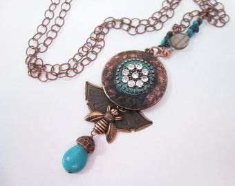 Copper with Turquoise Necklace -- Copper & Gem Necklace -- Bee Charm Necklace -- Blue Copper Charm Necklace -- Unique Copper Charm Necklace