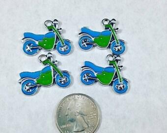 BIG Clearance Sale Blue and Green Dirt Bike Pendant Charms