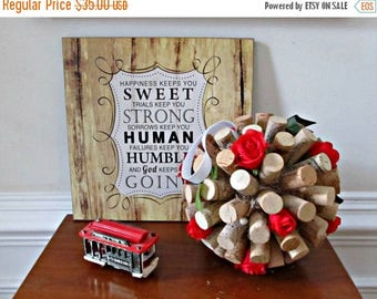 ON SALE Wine Cork Kissing Ball -Red Roses and Green Ivy - Wedding, Table Display, Spring, Summer, Home Decor