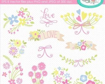 50%OFF Clipart, floral vector clipart, floral banner clipart, botanical clipart, floral bouquet clipart, calligraphy clipart, planner clipar