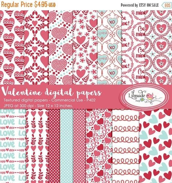 65%OFF SALE Valentine digital paper, Valentine scrapbook paper, patterned digital papers, Valentine patterns, DIY Valentine party, P402