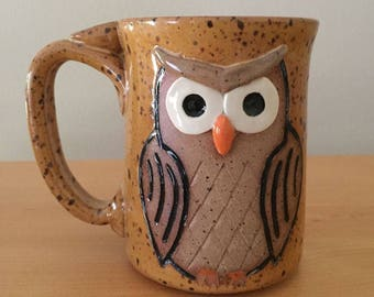 Speckled Orange Owl Mug - hand made IN STOCK ready to ship