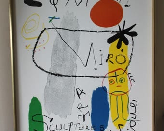 Vintage Lithograph, Serigraph Print Art by Joan Miro, Framed without glass, Mid Century Modern