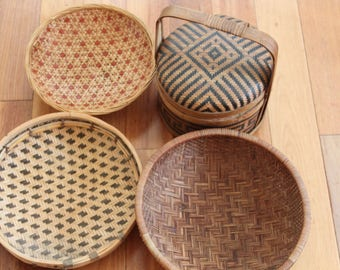 Vintage Chinese Basket Collection, 3 Baskets + Picnic Basket, Primitive Kitchen Decor, Tribal,