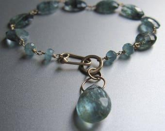 Moss Aquamarine Solid 14k Gold Bracelet