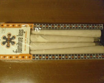 Vintage 1950's/1960's  Qual - Craft  Furniture Legs  Deadstock  Box Of 4 w/Hardware