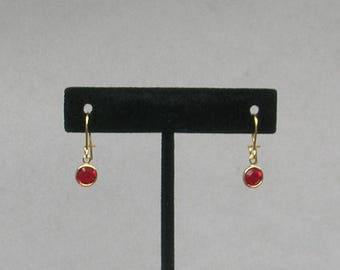 July Birthstone- Ruby Drop GP Earrings
