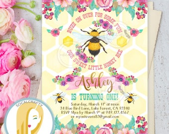 Bumble Bee Birthday Invitation, Bee Invitation, First Birthday Invitation, Honey Bee Invitation, DIY, Printed or Printable Invitations