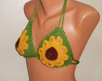 Crochet Festival clothing - Festival Top - Festival - Coachella Clothing - Gypsy Bra - Gypsy Clothing - Crochet - Carnival Costume Sunflower