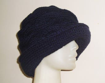 Navy Blue Hats Womens Hats Winter Blue Fedora Cable Knit Blue Knit Hat - Womens Gift - Christmas Gifts for Mom - Navy Hat