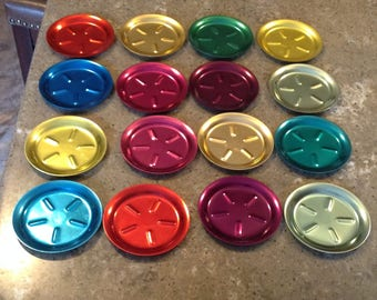 Vintage Anodized Aluminum Color Craft Colorful Coaster Set of 16