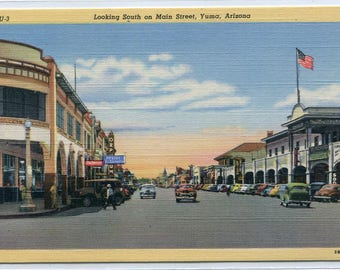 Main Street Scene Cars Yuma Arizona linen postcard