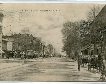 Falls Street Scene Niagara Falls New York 1907 postcard