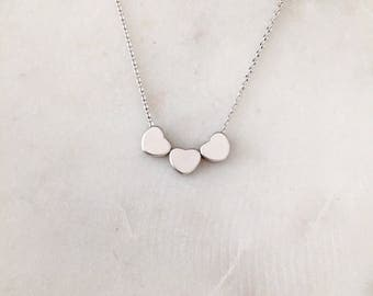 Three Hearts Necklace - Silver - Tiny Hearts Necklace - Minimalist Necklace