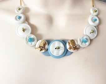 Rhinestone Cowgirl Button necklace