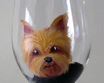 Custom Yorkshire Terrier Wine Glass ~ Dog Wine Glass ~ Custom Gift ~ Handpainted Wine Glass