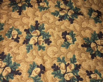 Fabric-Yardage-Quilt Backing-Acorns Fabric-By Quilt Club Collection-Thimbleberries for RJR Fashion Fabrics-Warm Brown With Aqua Leaves