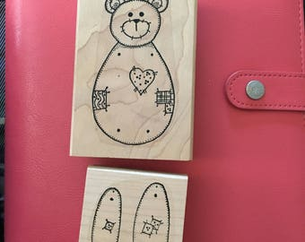 Bear Marionette Rubber Stamp-Bear Paper Doll Stamp-Handmade Birth Announcements-Birthday Party Favors-Movable Parts-Rubber Stamp