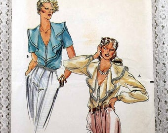"ON SALE Butterick 6957, Misses' Blouse Sewing Pattern, Vintage Sewing Pattern, Misses' Patterns, Misses' Size 8, Bust 31-1/2"", Uncut"
