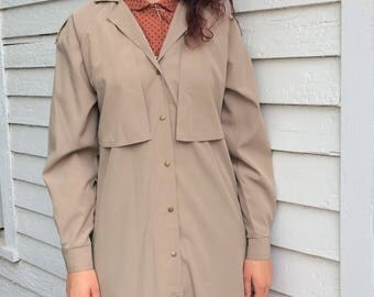 Trench Coat 80s Vintage Jacket Lightweight Beige Khaki S