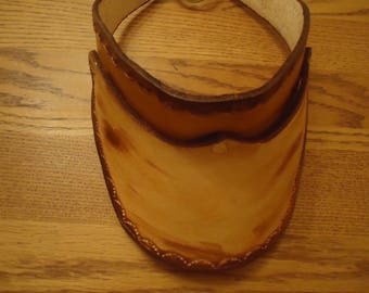 Adult hand tooled & dyed leather medium and dark brown visor back tie small shell design #81